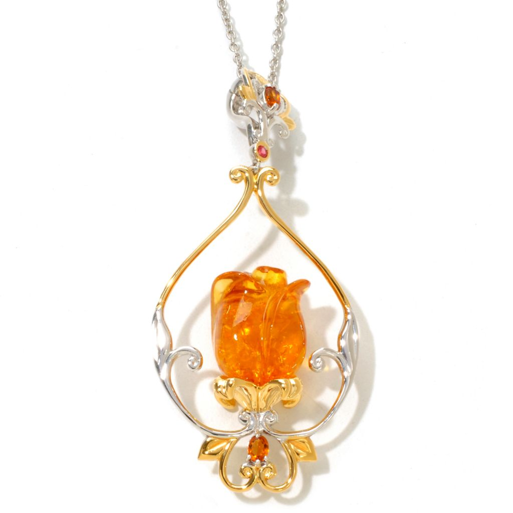 "121-956 - Gems en Vogue 1.45ctw Carved Baltic Amber Tulip Pendant w/ 18"" Chain"