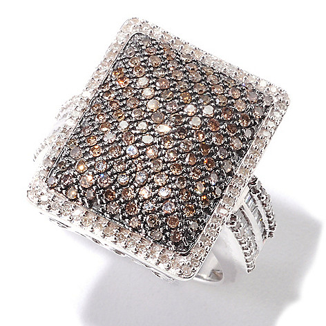 121-975 - Diamond Treasures Sterling Silver 1.00ctw White & Color Diamond Rectangular Ring