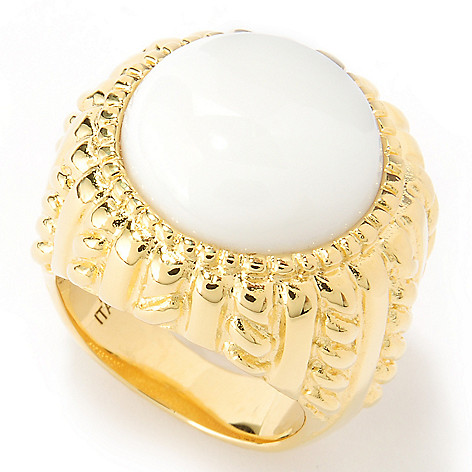 122-057 - Toscana Italiana 18K Gold Embraced™ 15mm Round Agate Textured Ring