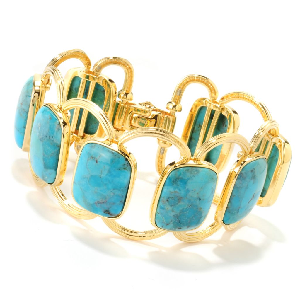 "122-058 - Toscana Italiana 18K Gold Embraced™ 7.25""  Turquoise Station Bracelet"