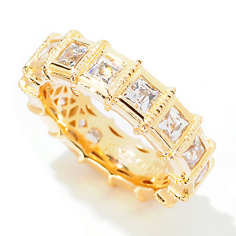 122-071 - TYCOON 2.54 DEW Square Cut Station Simulated Diamond Eternity Band Ring