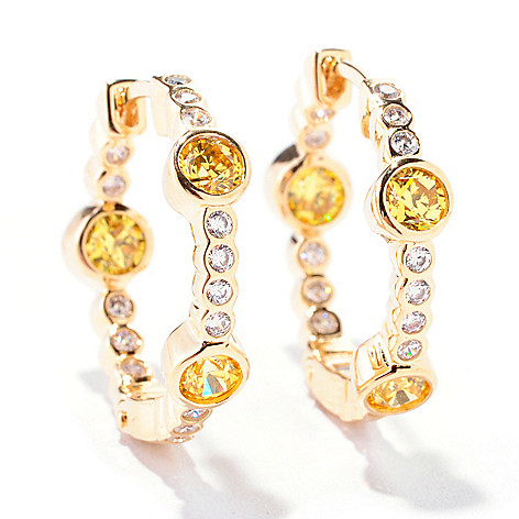 122-088 - TYCOON 18K Gold Embraced™ 1.51 DEW Round Simulated Diamond Inside-Out Hoop Earrings