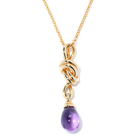 122-098 - Michelle Albala 13 x 9mm Gemstone Knot Drop Pendant w/ 20'' Chain