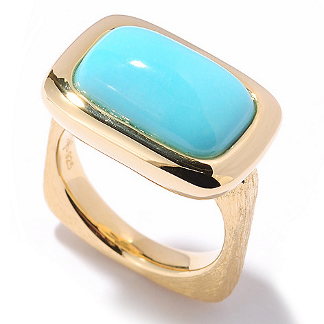 122-106 - Michelle Albala 15 x 9mm Sleeping Beauty Turquoise Square Shank Ring