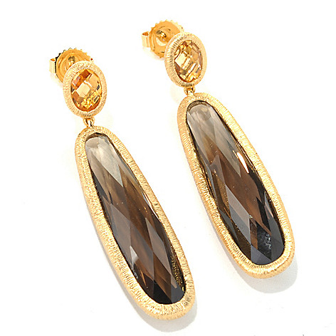 122-109 - Michelle Albala 2'' 15.72ctw Elongated Smoky Quartz & Gemstone Drop Earrings
