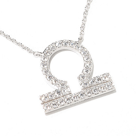 122-139 - Brilliante® Platinum Embraced™ Simulated Diamond Zodiac Necklace w/ 18'' Chain