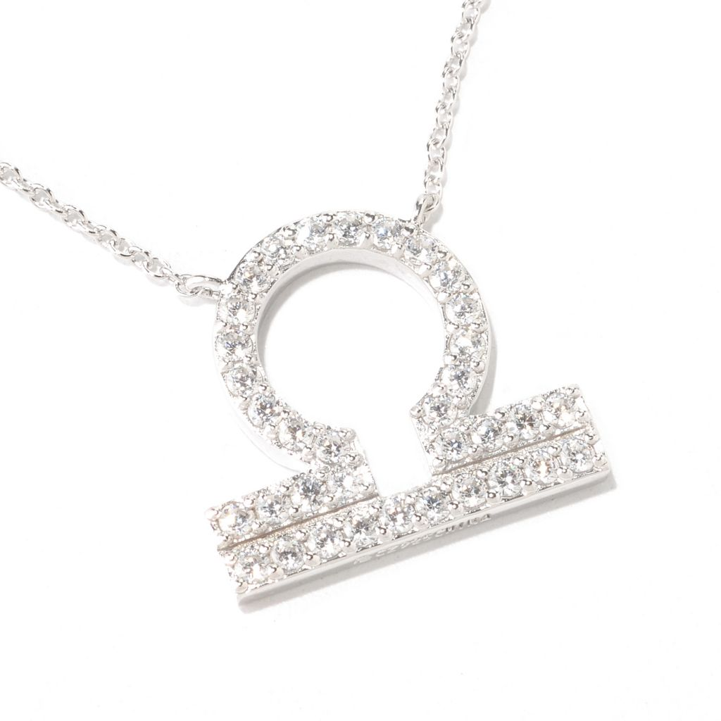 "122-139 - Brilliante® Platinum Embraced™ Simulated Diamond Zodiac Necklace w/ 18"" Chain"