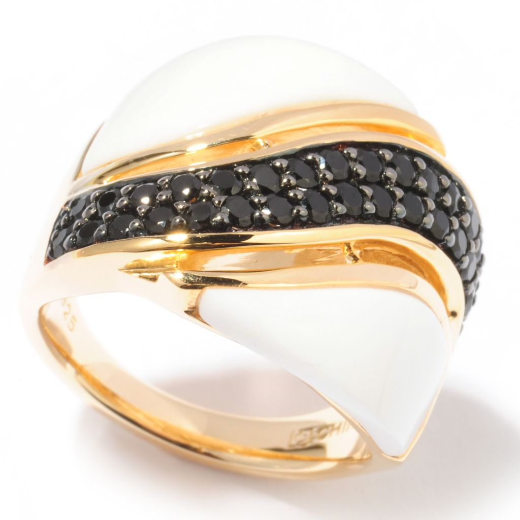 122-165 - Omar Torres 3.68ctw White Agate & Black Spinel Wave Wide Band Ring