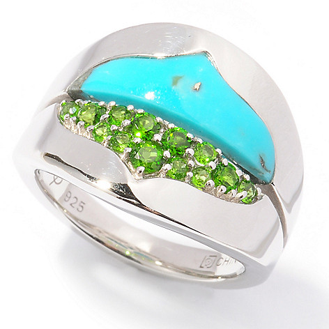 122-166 - Omar Torres Turquoise & Chrome Diopside ''Andalucia'' Split Band Ring