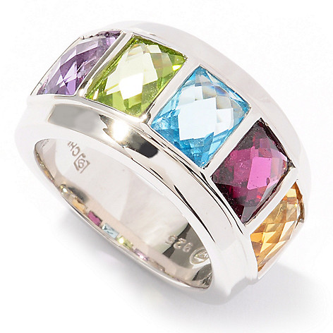 122-167 - Omar Torres 4.50ctw Rectangular Multi Gemstone Band Ring