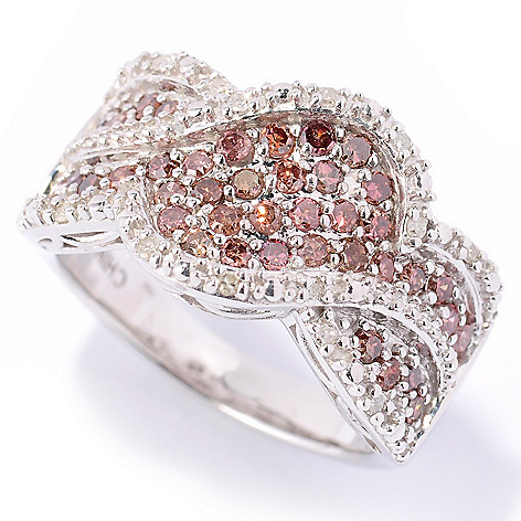 122-170 - Diamond Treasures Sterling Silver 0.75ctw Pink & White Diamond Overlap Ring