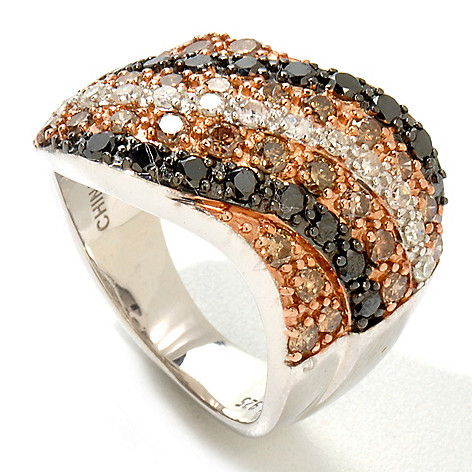 122-179 - Diamond Treasures Sterling Silver 1.06ctw Black, White & Champagne Diamond Wave Ring