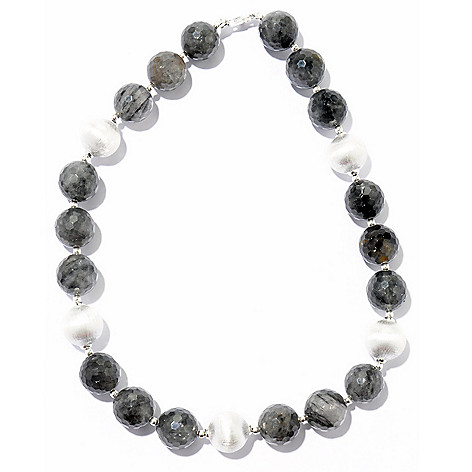 122-187 - SempreSilver® Electroform Satin Finish Bead Necklace