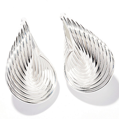 122-190 - SempreSilver® Polished Ribbed Hoop Earrings