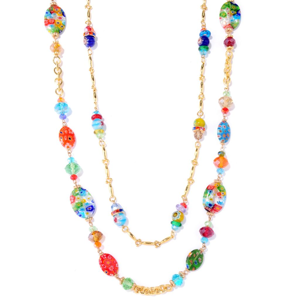 "122-229 - Sweet Romance™ Gold-tone Two-Piece 43"" & 48"" Glass Candy Bead Necklace Set"