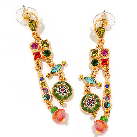 122-230 - Sweet Romance™ 2.5'' Multi Color Candy Glass Dangle Earrings