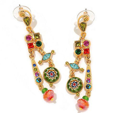 122-230 - Sweet Romance™ 2.5'' Multi Color Candy Glass Dangle Earrings