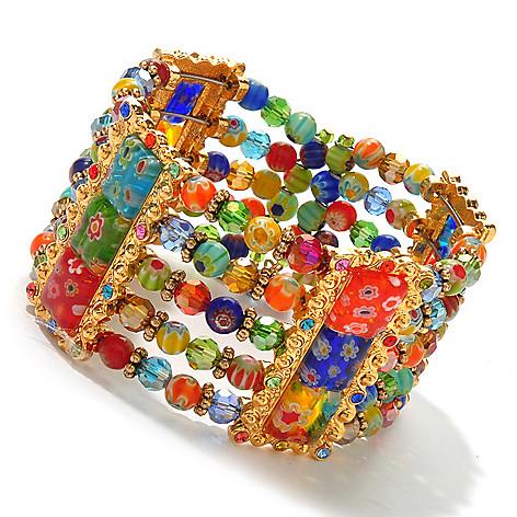 122-231 - Sweet Romance™ Gold-tone 7'' Multi Color Glass Candy Bead Cuff Bracelet