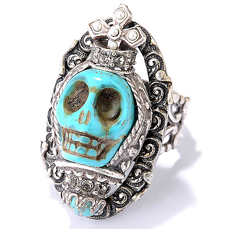 122-237 - Sweet Romance™ Magnesite, Glass & Crystal Reliquary-Inspired Skull Ring