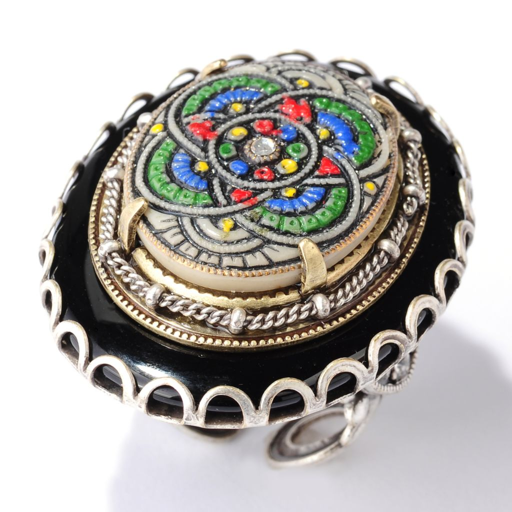 122-238 - Sweet Romance™ Two-tone Vintage Czech Glass Deco Ring