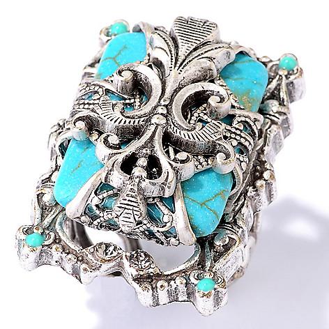 122-240 - Sweet Romance Magnesite Fleur-de-lis Ring