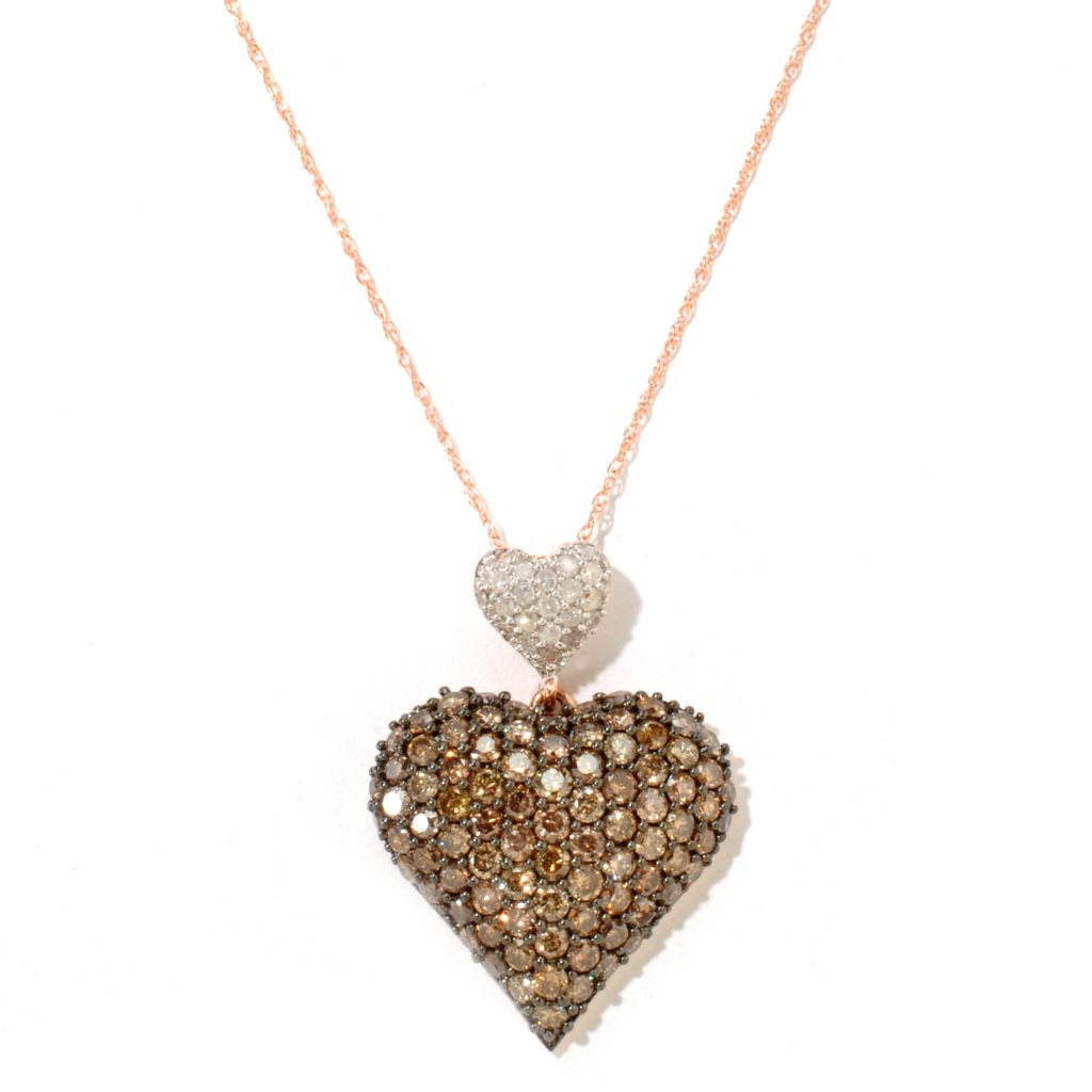 122-263 - Diamond Treasures 14K Rose Gold 2.76ctw Mocha & White Diamond Heart Pendant w/ Chain