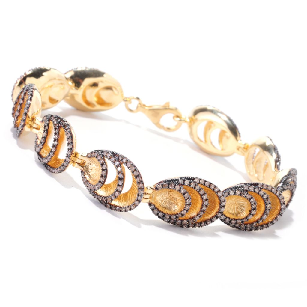 "122-267 - Southport Diamonds Gold Embraced™ Sterling Silver 7.75"" 3.25ctw Mocha Diamond Layer Bracelet"