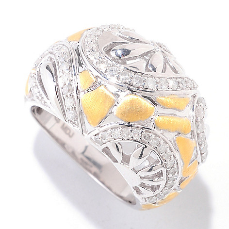 122-270 - Southport Diamonds Gold Embraced™ Sterling Silver 0.65ctw Diamond Flower Ring