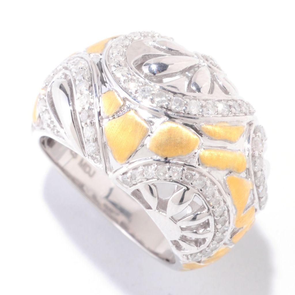 122-270 - Southport Diamonds 14K Gold Embraced™ Sterling Silver 0.65ctw Diamond Flower Ring