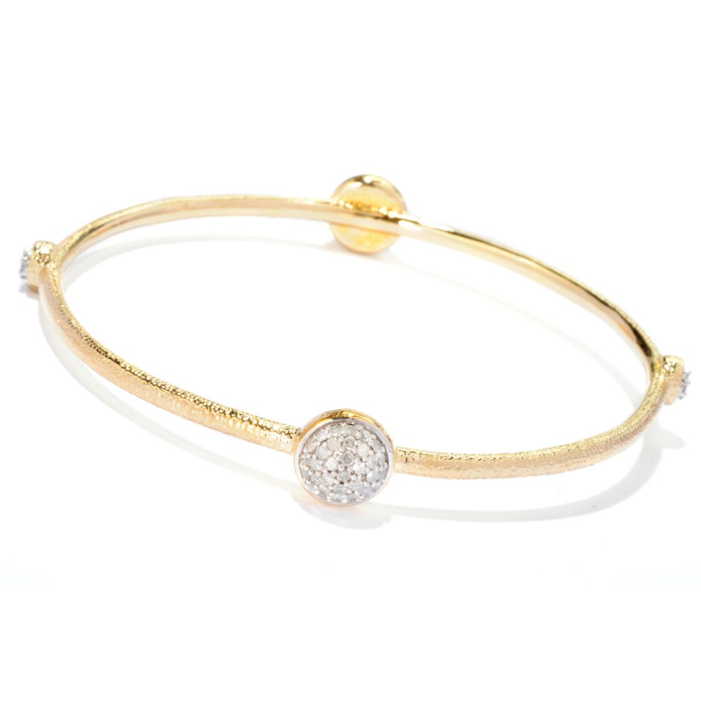 122-275 - Southport Diamonds Gold Embraced™ Sterling Silver 1.00ctw Diamond Bangle Bracelet