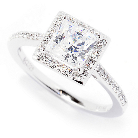 122-289 - Brilliante® Platinum Embraced™ Prong Solitaire Simulated Diamond Halo Ring