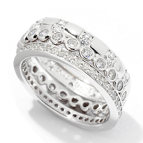 122-298 - Brilliante® Platinum Embraced™ Three-Piece 1.26 DEW Simulated Diamond Eternity Band Set