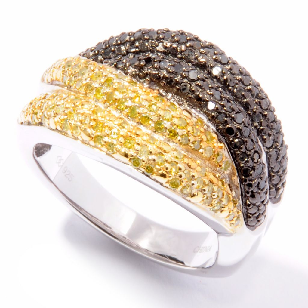 122-303 - Diamond Treasures Sterling Silver 0.75ctw Multi Color Diamond Ring