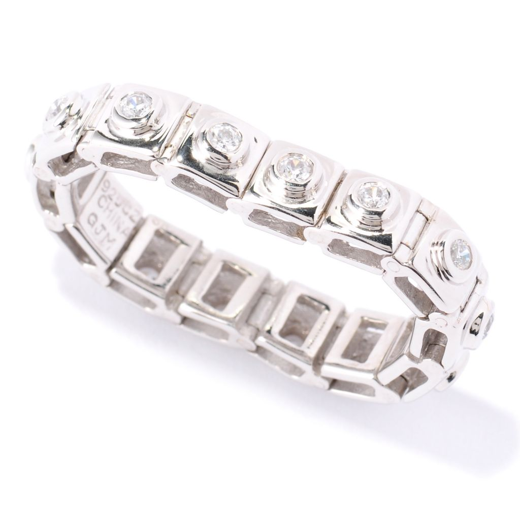 122-310 - Sonia Bitton Round Bezel Set Simulated Diamond Square Link Flex Eternity Ring