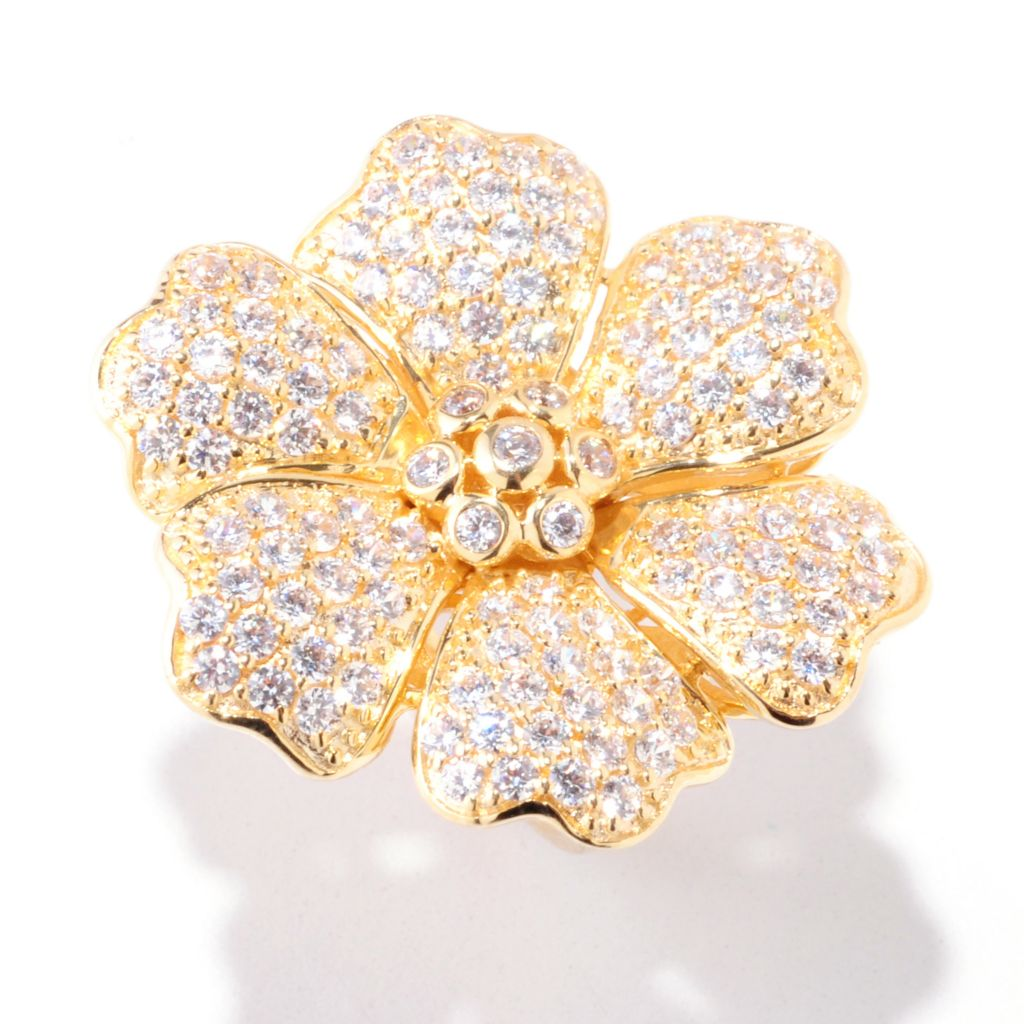 122-312 - Sonia Bitton 2.64 DEW Simualted Diamond Round Six-Petal Flower Ring