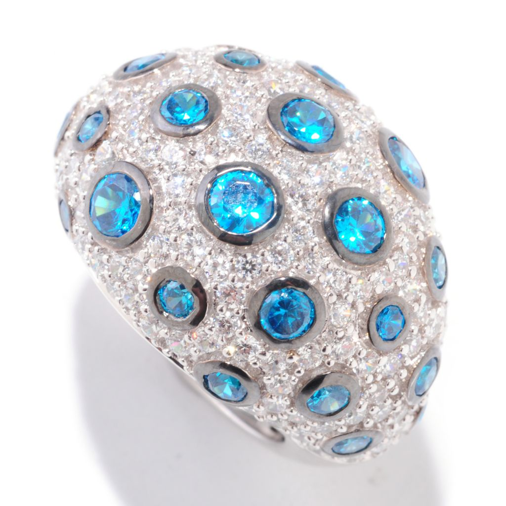 122-314 - Sonia Bitton Platinum Embraced™ Simulated Paraiba Tourmaline Ring