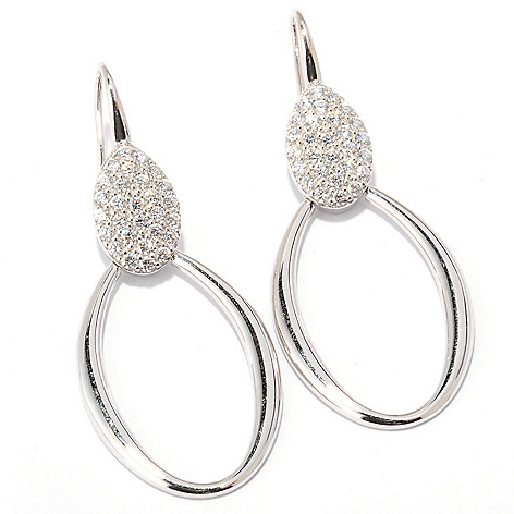 122-321 - Sonia Bitton 2'' 1.12 DEW Pave Set Simulated Diamond Oval Station Drop Earrings