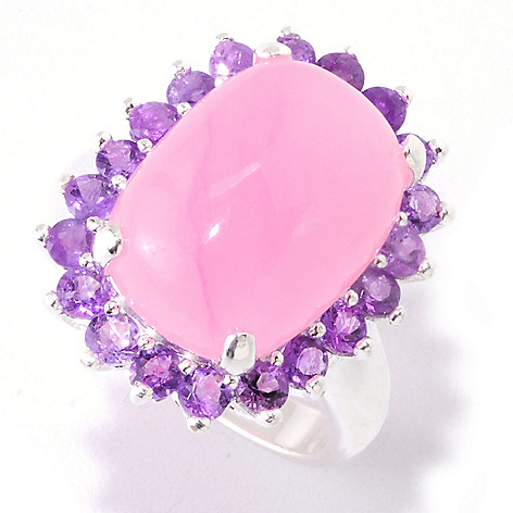 122-326 - Gem Insider Sterling Silver 16 x 11mm Pink Jade & Amethyst Halo Ring
