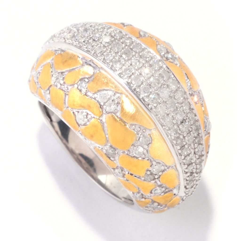 "122-333 - Southport Diamonds Gold Embraced™ Sterling Silver 1.00ctw Diamond ""Leopard Spot"" Dome Ring"