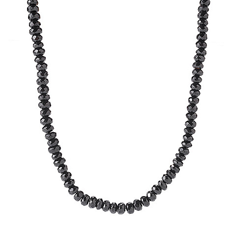 122-336 - Gem Treasures® Sterling Silver 20'' Faceted Black Spinel Bead Necklace