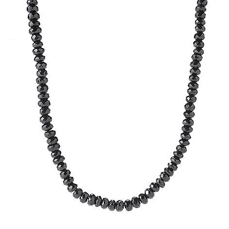 122-336 - Gem Treasures Sterling Silver 20'' Faceted Black Spinel Bead Necklace