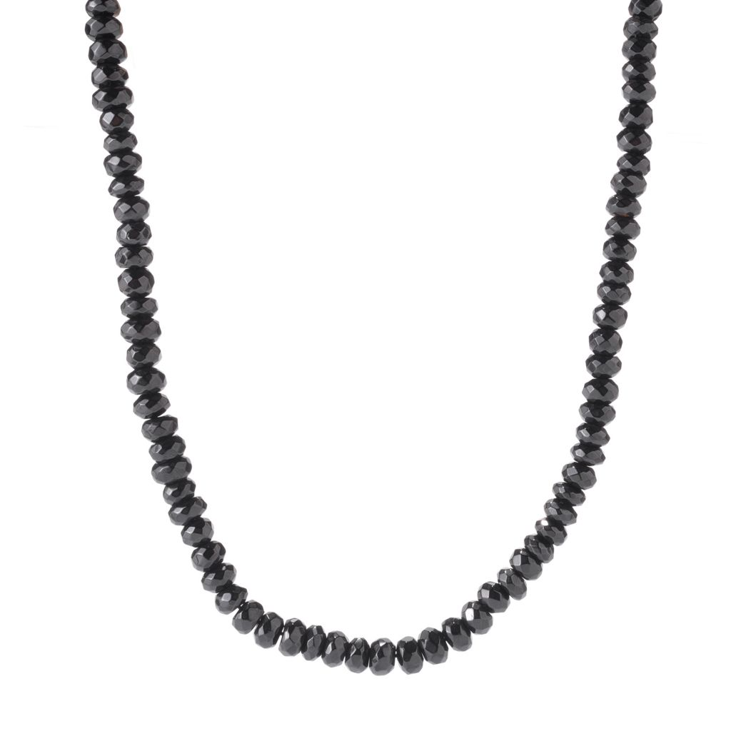 "122-336 - Gem Treasures Sterling Silver 20"" Faceted Black Spinel Bead Necklace"