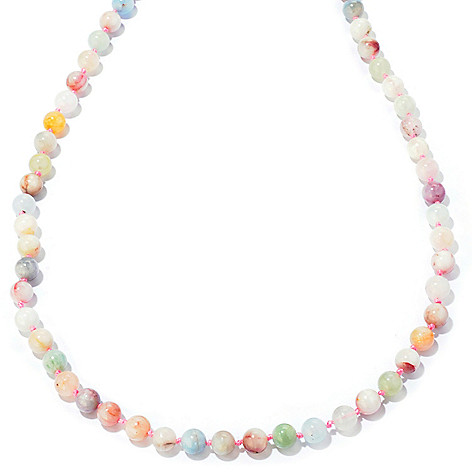 122-337 - Gem Treasures Sterling Silver 36'' Morganite & Colors of Beryl Necklace
