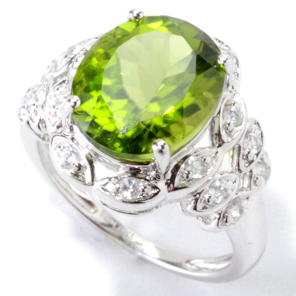 122-338 - Gem Insider Sterling Silver 5.77ctw Peridot & White Zircon Oval Ring