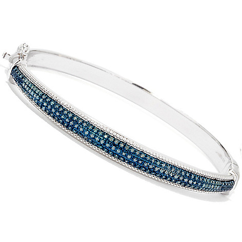 122-340 - Diamond Treasures Sterling Silver 0.50ctw Blue Diamond Bangle Bracelet