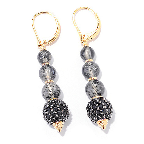122-359 - Omar Torres 17.27ctw Pave Black Spinel & Tourmalinated Quartz Earrings