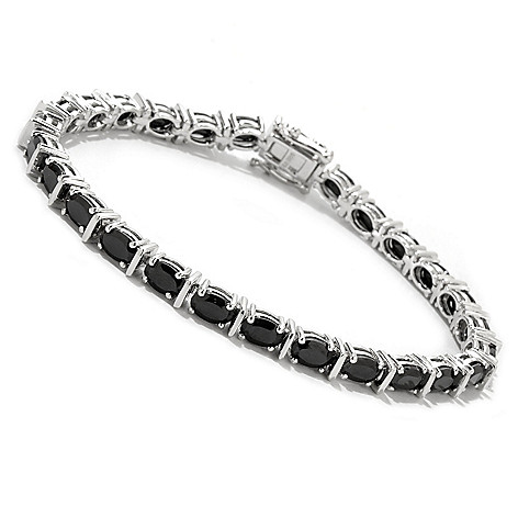 122-376 - Gem Treasures Sterling Silver Oval Black Spinel Line Bracelet
