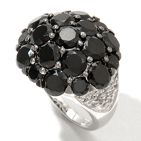 122-402 - Gem Treasures Sterling Silver 7.74ctw Black Spinel & White Topaz Dome Ring
