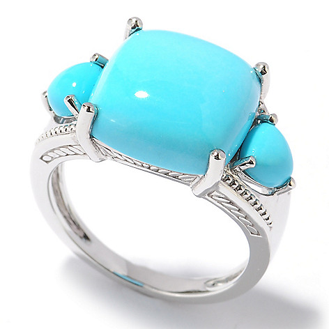 122-412 - Gem Insider® Sterling Silver Sleeping Beauty Turquoise Three-Stone Ring