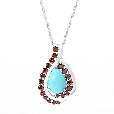 122-414 - Gem Insider Sterling Silver Sleeping Beauty Turquoise & Swiss Blue Topaz Pendant